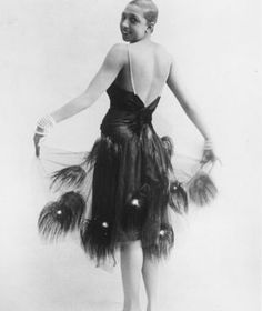 In full Plumage: Josephine Baker wearing ostrich feathers....