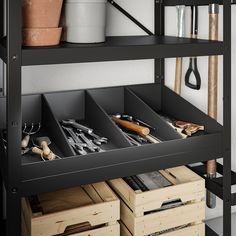 BROR Shelving unit with clothes rails, black. The shelving unit is durable, easy to clean and protected from rust since it is made of powder-coated galvanized steel. Shed Shelving, Garage Storage Shelves, Garage Shelf, Home Gym Garage, Shelving Ideas, Storage Room, Tool Storage, Storage Ideas, Storage Spaces