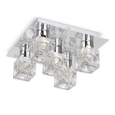 Modern Flush Silver Chrome / Glass Ice Cube 5 Way Halogen Ceiling Light Fitting