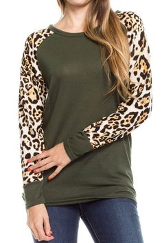S M L 1X 2X 3X OLIVE SOLID BODY LEOPARD LONG SLEEVE TOP - FREE US SHIPPING #Miss2Day #Top #Casual
