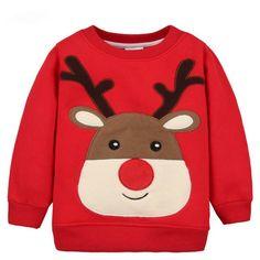 Children Hoodies Girls Red Christmas Reindeer fleece thick Hoodie Boy Baby Thick Sweatshirts Kid's Cartoon Sweater