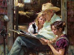 Painting - Grandfather Shows Photos