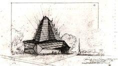 Perspective Drawing - Beth Sholom Synagogue / 8231 Old York Rd, Elkins Park, PA / 1954 / Frank Lloyd Wright