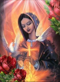 Our Lady of Guadalupe ~ how lovely! Our Lady of Guadalupe ~ how lovely! Blessed Mother Mary, Divine Mother, Blessed Virgin Mary, Mother Mother, Religious Pictures, Religious Icons, Religious Art, Image Jesus, Hail Holy Queen