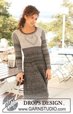 "Knitted DROPS dress in ""Delight"", ""Kid-Silk"" and ""Cotton Viscose"" with a heart on the yoke. Size XS to XXXL ~ DROPS Design"