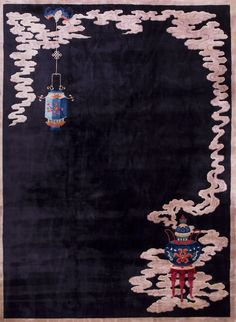 Antique Chinese rug in black field lantern and cloud: