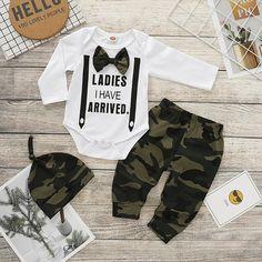 Pants Newborn Baby Boy Clothes Sweatsuit Long Sleeve Romper Cute Bowtie Strap Hat Outfits Set