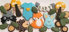 Woodland Animals Baby Shower Decorated Cookies