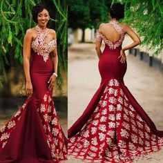Aso Ebi Style Dark Red Sexy Mermaid Evening Pageant Dresses 2017 Modest Lace High Neck Backless Sweep Train Trumpet Africa Prom Party Gowns Prom Dress with Sleeve Lace Evening Dress Mermaid Prom Gowns Online with $155.43/Piece on Readygogo's Store | DHgate.com