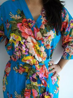 Floral Kimono Crossover patterned Robe Wrap - Bridesmaids gift