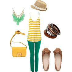Yellow and Jade, created by kellikin.polyvore.com
