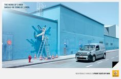 1.car, Renault. 2. The work of three men should be done by three men. 3. Humor, the worker looks funny. 4. 21-35 men or women. 5. entertain. 6. it is funny and the blue grab your attention. Nick C.