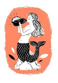 nicolas john frith, mermaid, print, screenprint, sea, nautical, shell, coral, colour, drawing, illustration