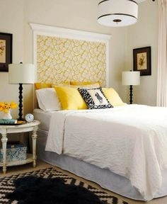 Use molding and fabric to create a built-in headboard for your bedroom! The DIY Headboard Extravaganza {Unique Headboard Inspiration} Home Bedroom, Bedroom Decor, Bedroom Ideas, Farm Bedroom, Bedroom Furniture, Bedroom Inspiration, Kids Bedroom, Bedroom Lighting, Master Bedrooms