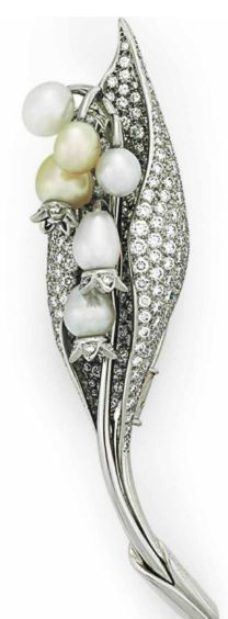 """A CULTURED PEARL AND DIAMOND """"LILY BELLE"""" BROOCH, BY TIFFANY & CO. Designed as a circular-cut diamond and cultured pearl lily-of-the-valley blossom, mounted in platinum Signed Tiffany & Co., France"""