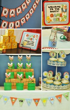A full party's worth of Super Mario Party Printables, from blocks, surprise favor boxes, cupcake toppers, party signs, waterbottle wrappers, Mini Flags, Banners and more