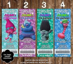 Trolls birthday party printable condiment label files kids parties