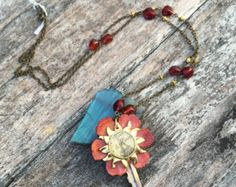 Vintage key pendant embellished w/leather red flower sun bezel with resin Eiffel tower necklace, bronze chain with red glass beads - Edit Listing - Etsy