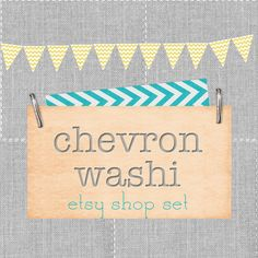 Etsy Shop Banner Set. Chevron Washi Tape Bunting. Custom Premade Theme. Shabby Chic Boho Turquoise Mustard Gray Stitched Linen. $40.00, via Etsy.