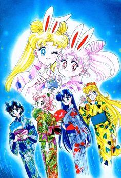 The Girls in Summer Festival Yukata; from Bishoujo Senshi Sailor Moon Original Picture Collection, Vol. II   art by Naoko Takeuchi