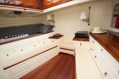 love the crisp white and the polished wood Sailboat Interior, Yacht Interior, Classic Yachts, Classic Boat, Liveaboard Boats, Restore Wood, Sailboat Living, Boat Restoration, Wood Boats