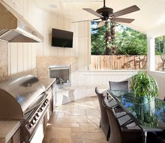 I might do this in the back yard. Make it a half outdoor half indoor outside kitchen/entertainment area.