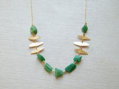 Gold Chrysoprase Necklace, OOAK