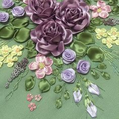 Almost Silk Ribbon Embroidery, Cross Stitch Embroidery, Embroidery Patterns, Hand Embroidery, Ribbon Candy, Ribbon Art, Fabric Flowers, Ribbons, Flower Art