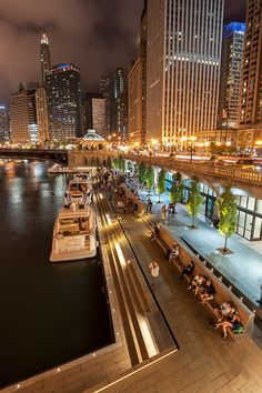 Sasaki and Ross Barney Architects complete Chicago Riverwalk #landscape #architecture #design #night #lighting #LED