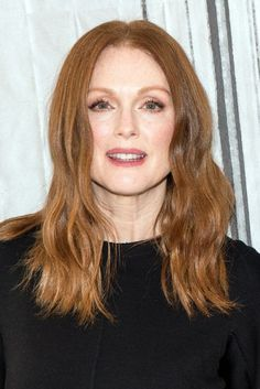 For deep-set eyes like Julianne Moore's, use the same application techniques as you would for a round eye, but apply the dark shadow very lightly. You want to accentuate the highlighted parts of the eye to give the illusion of roundness, but not overpower it with dark shadow.