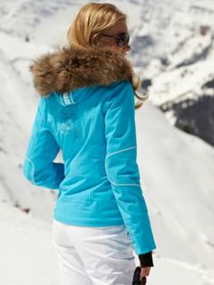 moya-tp turquoise jacket with fur