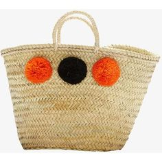 Malaga, french market basket, with pompoms (orange and black) ($109) ❤ liked on Polyvore featuring home, home decor, small item storage, black storage baskets, storage baskets, storage totes, hand woven baskets and french basket