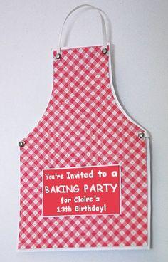 Uitnodiging: schort voor een bakfeestje of kookfeestje