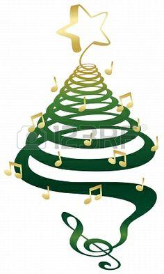 Un Musical Árbol De Navidad Con Clave De Sol, Las Notas Y La Estrella. Ilustraciones Vectoriales, Clip Art Vectorizado Libre De Derechos. Image 15211426.