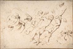 Giovanni Benedetto Castiglione (Il Grechetto) (1609–1664), Fantastic Subject: Five Nude Male Figures Punishing Another, 1609/64, Pen and dark brown ink | The Metropolitan Museum of Art