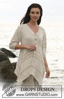 Casaco comprido DROPS tricotado em Bomull-Lin e Cotton Viscose - Tamanhos S-X XXL ~ DROPS Design