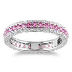 Lab-Created Pink and White Sapphire Eternity Band in Sterling Silver