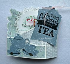 Margreet's scrapcards: Always Time For Tea Tri Fold Cards, Fancy Fold Cards, Folded Cards, Tea Party Crafts, Craft Party, Marianne Design Cards, Pop Up, Easel Cards, Card Tutorials