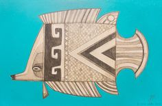 """""""Fish Outta Water 062"""" © Erik Abel 2016 12""""x18"""" Acrylic, marker, colored pencil on wood.<br>Inquire for pricing"""
