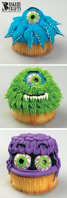 2014 octopus monster cupcakes with scary eyeballs - in cupcakes, Halloween ideas  #2014 #Halloween