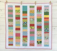 Striped Baby Quilt / Handmade Quilt/Patchwork Baby Quilt/Baby Blanket/Contemporary Baby Quilt/ Modern Quilt/Crib Blanket
