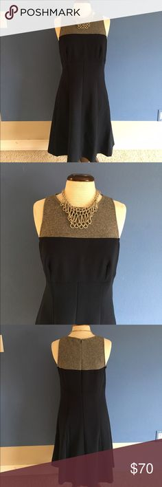 """🆕 LOFT Gray & Navy Dress (Size - 8 Tall) NWT - This gorgeous dress wants to come home with you!   Classy and stylish, this dress will keep the compliments coming.  😀.   Zipper in the back. No slit. Measurements: Length - 39.5""""/Bust - 19.5""""/Waist - 17.5"""" LOFT Dresses"""