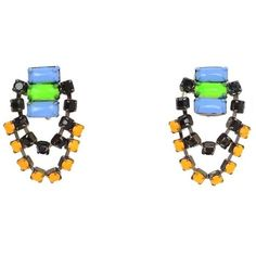 Preowned Tom Binns Multi-colored Chandelier Clip On Earrings ($115) ❤ liked on Polyvore featuring jewelry, earrings, beige, tri color jewelry, tom binns earrings, clip back earrings, tri color earrings and colorful jewelry