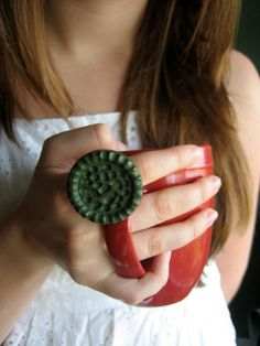 Vintage Button Ring HANDMADE by Humble Bee Project on Etsy