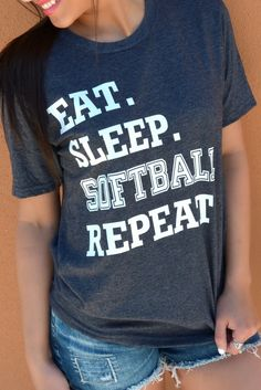 Our Eat. Sleep. Softball. Repeat. Tee is a LaRue Exclusive and features a super soft charcoal tee with white print. Made of 50% Cotton and 50% Polyester. Model is a size 2 and is wearing a X-Small. Si