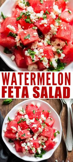 Salty, sweet and refreshing watermelon feta salad is what you should be serving for every backyard BBQ party or picnic. Cubes of watermelon tossed with fresh basil leaves and crumbled feta is perfect summer salad. #summer ##summerrecipes #watermelonsalad #basil #freshsalad #summersalad #saladrecipes #easysalad #easyrecipes #lightsalad #cleaneating #feta Easy Salads, Summer Salads, Watermelon Feta Salad Recipes, Caprese Salad, Bbq Party, Backyard Bbq, Easy Food To Make, Summer Recipes, Healthy Recipes