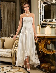 Sheath/Column Plus Sizes Wedding Dress - Ivory Asymmetrical Strapless Tulle – USD $ 99.99