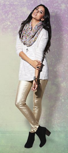 Love the gold pants and scarf! #holidaylooks #pacsun