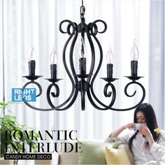 Wrought iron chandelier For Indoor home lighting bedroom Kitchen Decoration Lustre de sala 5 arms Black Iron candle chandelier
