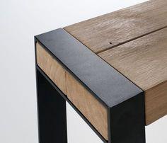 finishing of wooden beam bench